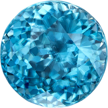 Great Buy in Blue Zircon Loose Gem in Round Cut, Rich Blue Color in 8.6 mm, 4.67 Carats