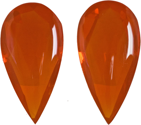 Great Buy in Rich Orange Colored Fire Opal Matched Set Buff Top Stones in 18.2 x 9.0 mm, 7.95 carats