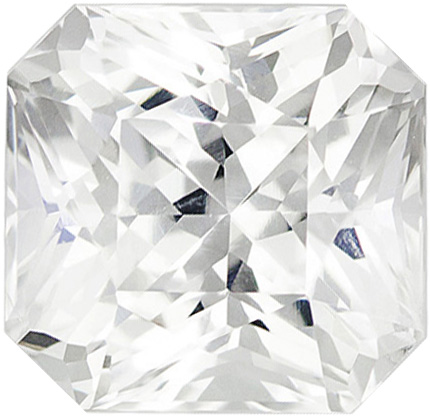 Great Buy in White Colorless Sapphire Loose Gemstone in Radiant Cut, 6.9 x 6.7 mm, 2.34 carats