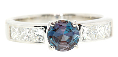 Great Buy on Classic Alexandrite Engagement Ring set with 1 carat 6mm Super Fine AAA Alexandrite with Diamonds in Platinum Ring
