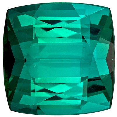 Low Price   Blue Green Tourmaline Genuine Gemstone, 10.06 carats, Cushion Shape, 12.4 mm