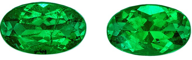 A Beauty of A Gem  Green Emerald Genuine Gemstone, 0.43 carats, Oval Shape, 5 x 3 mm Matching Pair