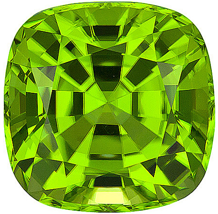 Great Color, Life and Clarity on this Stunning Unheated Peridot Gemstone from Pakistan, Antique square Cut, 5.83 carats - SOLD