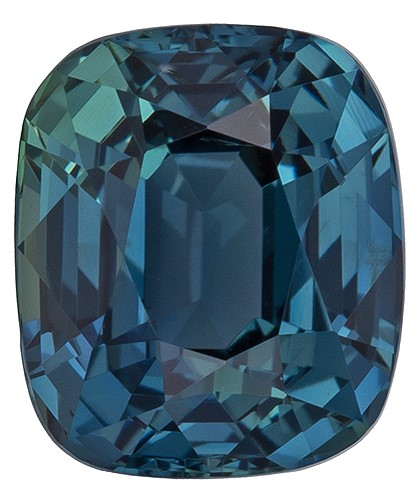 Super Fine Gem!  Blue Green Sapphire Genuine Gemstone, 1.39 carats, Cushion Shape, 6.43 x 5.53 x 4.17 mm  with GIA Certificate