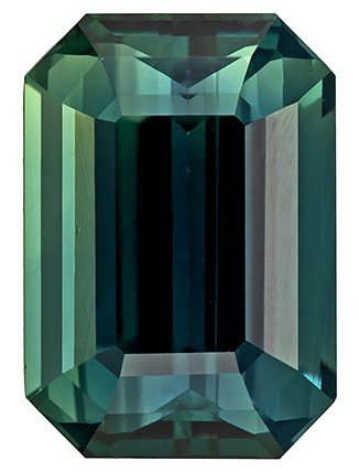 Great Colored Gem  Blue Green Sapphire Genuine Gemstone, 3.06 carats, Emerald Shape, 9.5 x 6.6 mm