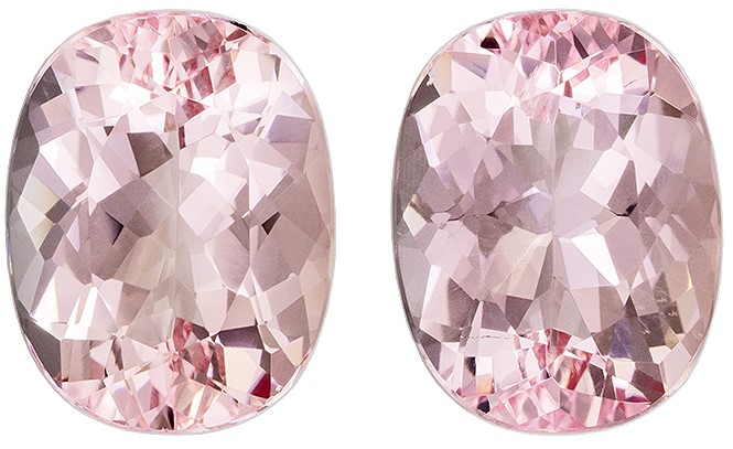 Low Price on Top Gem Pink Morganite Genuine Gemstone, 3.53 carats, Oval Shape, 9 x 7 mm Matching Pair
