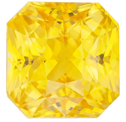 Great Colored Gem  Radiant Cut Faceted Yellow Sapphire Loose Gemstone, 3.52 carats, 7.8 x 7.6 mm , Super Lovely Gem