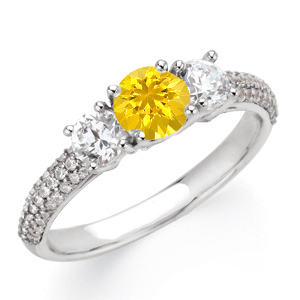 Great Colorful Accessory! - Yellow 1 carat 6mm Sapphire Gemstone Engagement Ring With Diamond Side Gems and Diamond Accents on Band