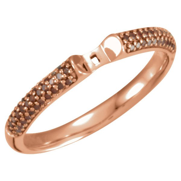 Great Colors in 14kt Rose Gold Cathedral Ring Shank With 0.20ctw Brown Diamond Accents for Peg Setting