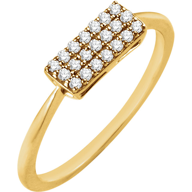 14 KT Yellow Gold 1/6 Carat Total Weight Diamond Rectangle Cluster Ring