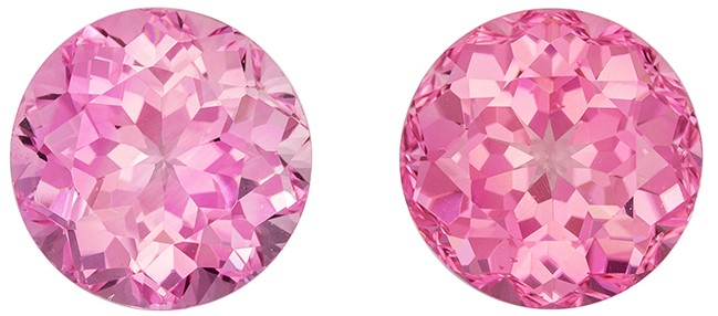 Great Deal on  Pink Tourmaline Gemstone Pair, 6.77 carats, Round Shape, 9.3 mm, A Natural Wonder