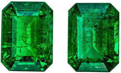 Great Emerald Emerald Cut Well Matched Gemstone Pair, Vivid Rich Green, 7.9 x 5.9 mm, 2.58 carats