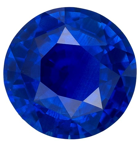 Great for Studs  Round Cut Beautiful Blue Sapphire Gemstone, 1.18 carats, 6.3 mm , Such Color