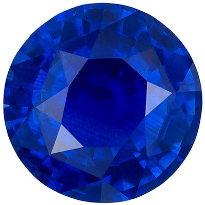 Wonderful Blue Sapphire Genuine Loose Gemstone in Round Cut, 1.18 carats, Rich Royal Blue, 6.3 mm