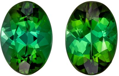 Beautiful Green Tourmaline Well Matched Gemstone Pair 1.6 carats, Oval Cut, Rich Grass Green, 7 x 5 mm