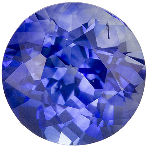 Great Looking Sapphire Loose Gem in Round Cut, Vivid Blue, 6.3 mm, 1.34 carats