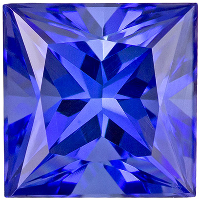 Great Looking Tanzanite Gemstone for Sale in Princess Cut, Rich Blue Purple Color in 7 mm, 2.30 carats