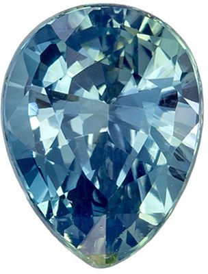 Not Treated Blue Green Sapphire Genuine Gem, Open Teal Blue Green, Pear Cut, 6.5 x 5 mm, 1.04 carats