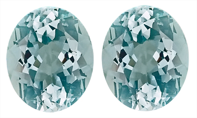 Great Pair of Captivating Discounted Loose Blue Aquamarine Genuine Gemstones, Oval Cut, 9.52 carats,