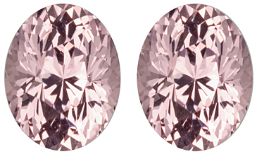 Great Pair of Marvelous Light Pink Sapphire Genuine Gemstones for SALE, Oval Cut, 2.39 carats