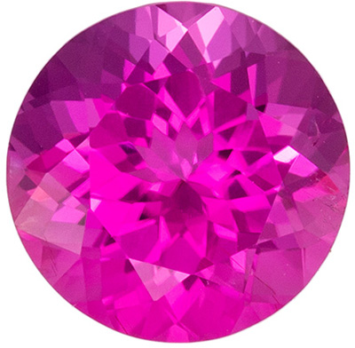 Great Pink Tourmaline Genuine Gem in Round Cut, Medium Hot Pink, 7.4 mm, 1.6 carats
