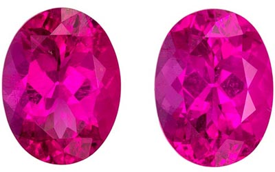Great Pink Tourmaline Well Matched Gemstone Pair in Oval Cut, 2.77 carats, Intense Pink, 8.1 x 6.1 mm
