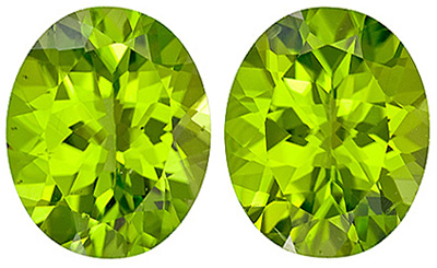 Great Price on Bright and Beautiful Peridot Matched Pairs from Arizona, Oval Cut, 7.2 carats