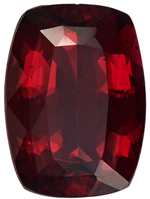 Great Rhodolite Genuine Gem in Cushion Cut, Medium Raspberry, 13.2 x 9.6 mm, 6.93 carats