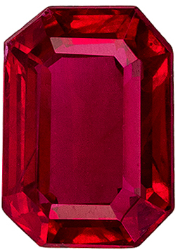 Great Ruby Gemstone in Emerald Cut, Rich Pure Red, 7 x 5 mm, 1.28 carats