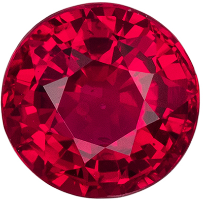 Great Ruby Genuine Gem in Round Cut, 0.7 carats, Pure Pigeon's Blood Red, 5 mm