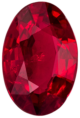 Great Ruby Loose Gem, 5.8 x 3.9 mm, Open Rich Red, Oval Cut, 0.45 carats