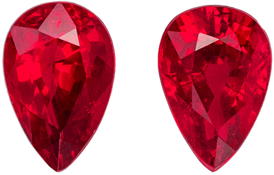 Great Ruby Pear Cut Well Matched Gemstone Pair, Vivid Pure Red, 6 x 4 mm, 1.21 carats