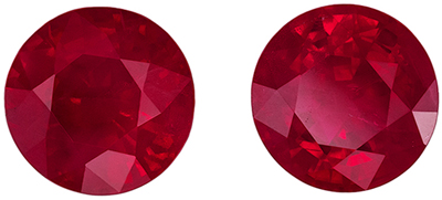 Great Ruby Well Matched Pair, 5.7 mm, Vivid Rich Red, Round Cut, 1.85 carats