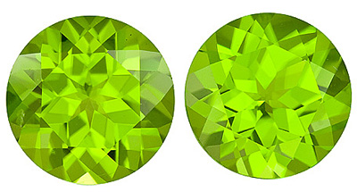Great Size! Attractive Loose Round Peridot Matched Pairs - Great for Earrings!, 10.00 carats