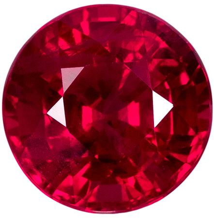 Great Value in Round Ruby Gem with Vivid Open Red Color and Clean Stone, 5.8 mm, 1.10 carats
