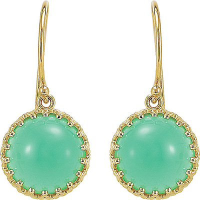 Great6.9ct 10mm Chrysoprase Crown Design Cabochon Dangle Earrings - 14k Yellow Gold