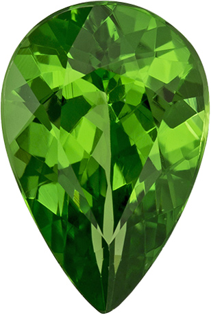 Green Garnet Tsavorite Genuine Gem in Pear Cut from Tanzania in 8 x 5.4 mm, 0.98 Carats