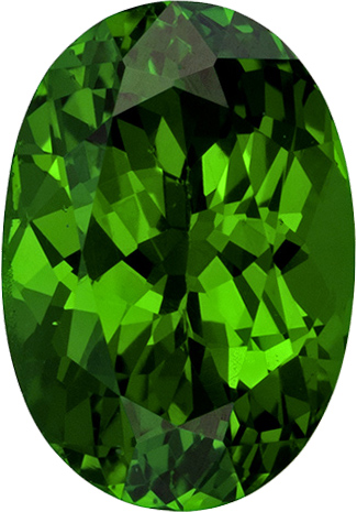 Green Garnet - Tsavorite Natural Tanzanian Gemstone in Oval Cut, 7.1 x 4.9 mm, 1.04 Carats