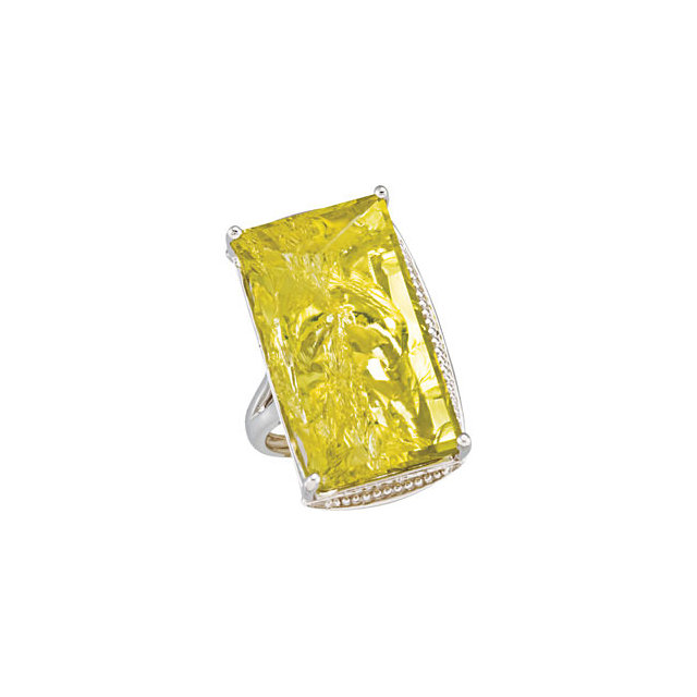 Enchanting Green Gold Quartz Granulated Design Ring