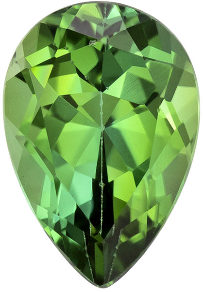 Green Loose  Tourmaline Gem in Pear Cut, Rich Grass Green Color, 9.4 x 6.5 mm, 1.84 carats