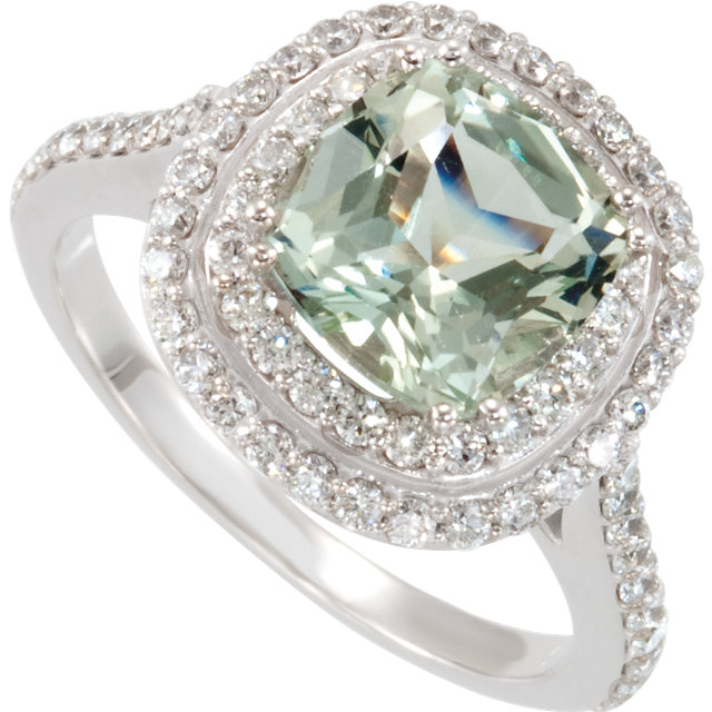 Fine Quality Green Quartz & Diamond Double Halo-Style Ring