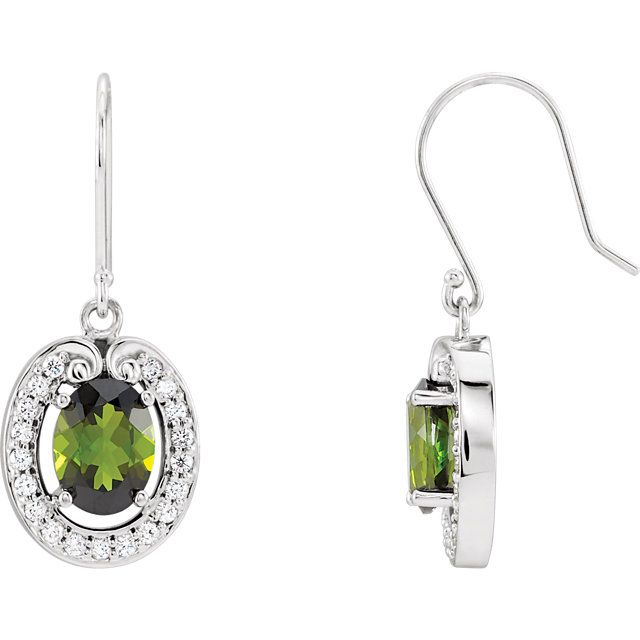 Genuine Green Tourmaline & Diamond Earrings