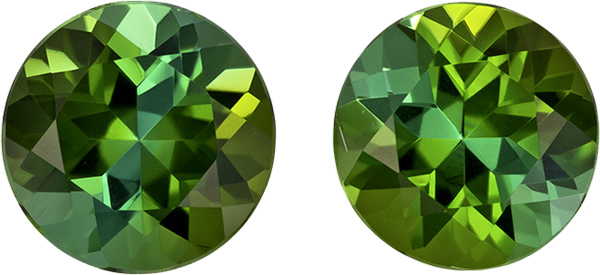 Green Tourmalines in Matched Rounds, Amazing Vivid Open Green Color, 6.5 mm, 2.16 carats