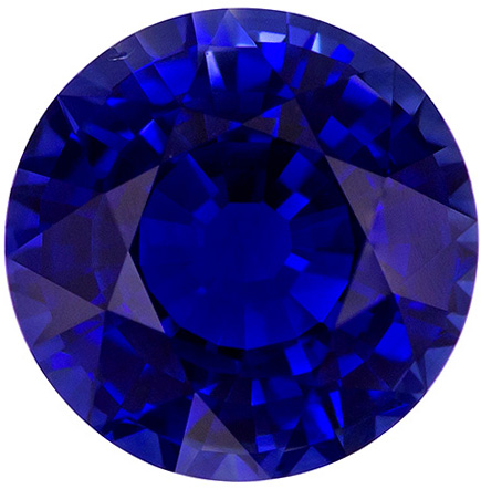 GRS Certified 1.99 carats Blue Sapphire Loose Gemstone in Round Cut, Rich Blue, 7.5 x 7.5 mm