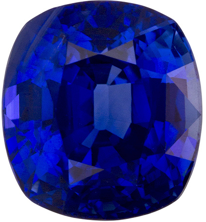 GRS Certified Royal Blue Sapphire Gemstone, Cushion Cut, Vivid Royal Blue, 7.1 x 6.5 mm, 1.99 carats