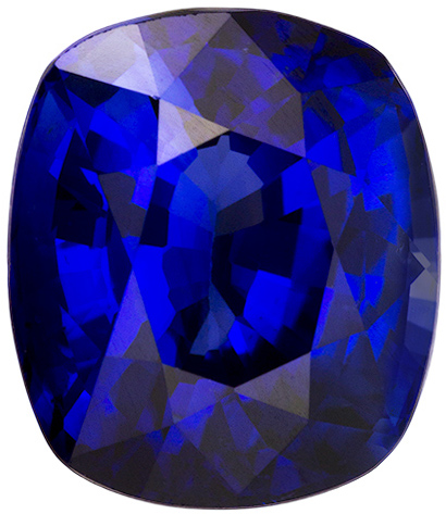 GRS Certified Vivid Royal Blue Sapphire in Cushion Cut, Clean Stone in 9.7 x 8.3 mm, 4.10 carats