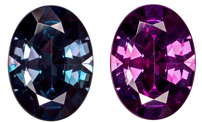 Very Fine 7.8 x 5.7mm Alexandrite Genuine Gemstone in Oval Cut, Rich Teal to Burgundy Eggplant, 1.04 carats