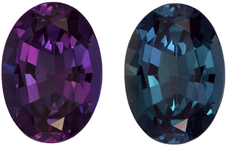 Gubelin Certified 7.7 x 5.5 mm Alexandrite Genuine Gemstone in Oval Cut, Eggplant to Blue Green, 1.1 carats