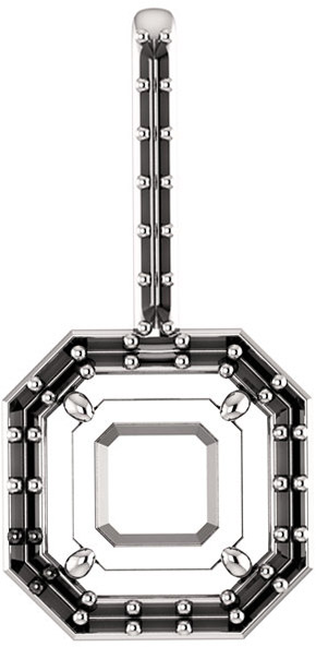 Halo Accented Pendant Mounting for Asscher Shape Centergem Sized 5.00 mm to 7.00 mm - Customize Metal, Accents or Gem Type