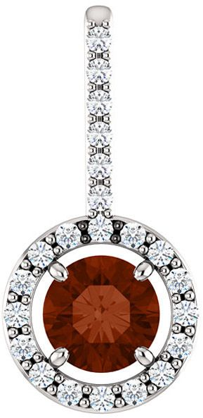 Halo Accented Pendant Mounting for Round Gemstone Size 4.10mm to 12mm